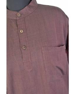 Košile-kurta, pánská, dlouhý rukáv, hnědá, kapsa