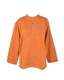 Košile-kurta, pánská, dlouhý rukáv, oranžová, kapsa