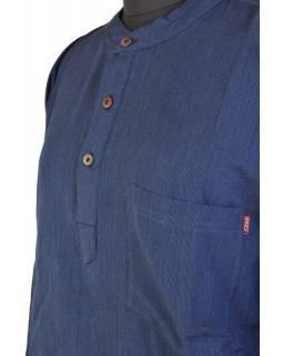 Tmavě modrá pánská košile-kurta s dlouhým rukávem a kapsičkou