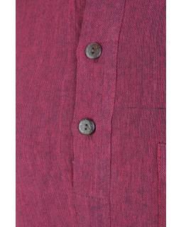 Vínová pánská košile-kurta s krátkým rukávem a kapsičkou