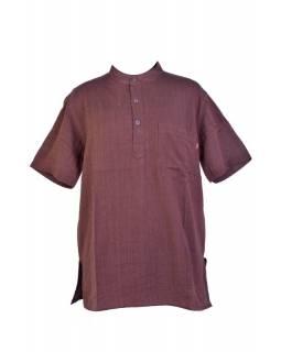 Hnědá pánská košile-kurta s krátkým rukávem a kapsičkou