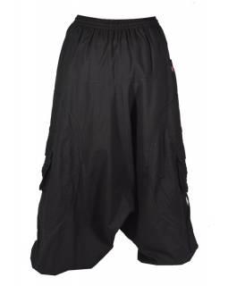 Unisex turecké kalhoty s aplikacemi spirály a kapsami, černé, zipy