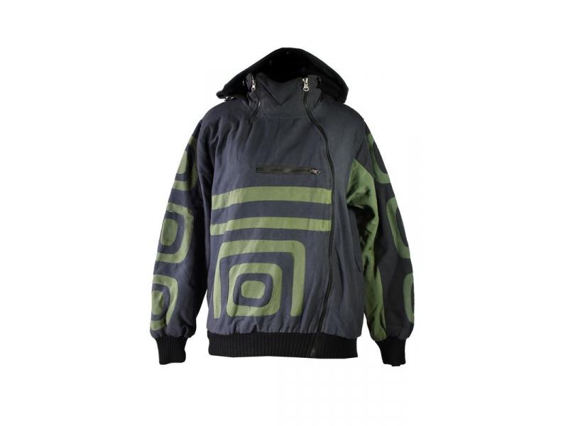 Pánská černo-khaki bunda s kapucí zapínaná na zip, aplikace, kapsy, náplet