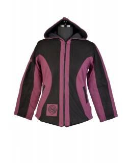 Černo fialová bunda s kapucí, spirálová aplikace, zapínání na zip a kapsy