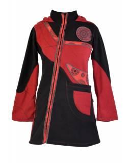 Černo vínový asymetrický kabátek s kapucí, aplikace, zapínání na zip a kapsy