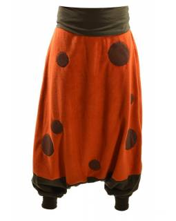 Oranžové fleecové turecké kalhoty s aplikacemi mandal, přehrnovací pas