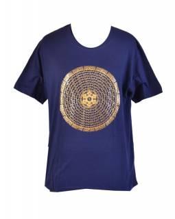 Tmavě modré triko s krátkým rukávem, zlatý potisk mandala s mantrou