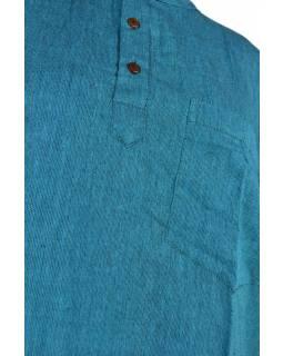 Petrolejová pánská košile-kurta s krátkým rukávem a kapsičkou