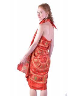 Červený sárong s ručním tiskem, sloní mandala, 110x170cm