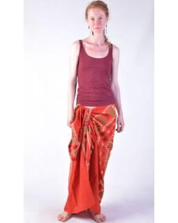 Červený bavlněný sárong s ručním tiskem, sloní mandala, 110x170cm