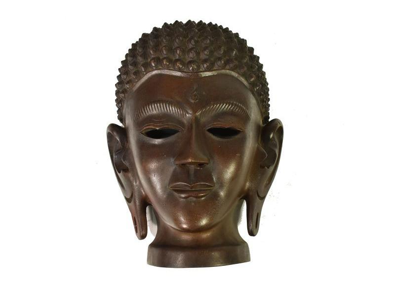 Dřevěnná maska Buddha hlava, 24x34cm