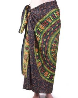 Černý bavlněný sárong s ručním tiskem, sloní mandala, 110x170cm