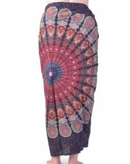 """Modrý bavlněný sárong s ručním tiskem, """"Naptal"""" design, 110x170cm"""