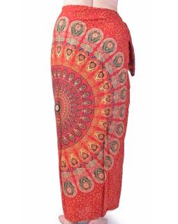 """Červený bavlněný sárong s ručním tiskem, """"Naptal"""" design, 110x170cm"""