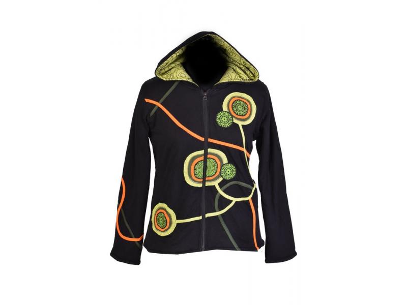 Černo-zelená mikina s kapucí zapínaná na zip, mandala aplikace a výšivka