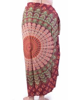 Vínový bavlněný sárong s ručním tiskem, paví peří, 110x170cm