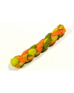 Šátek, khaki-žluto-oranžová batika, mačkaná úprava, 110x170cm