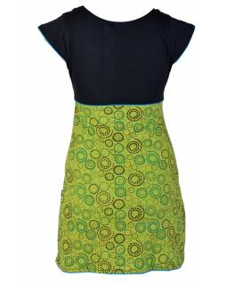 Šaty krátké, krátký rukáv, černo-zelené, dva tisky, tyrkysové lemy, výšivka