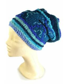 Čepice, dlouhá, modrá, výšivka, podšívka