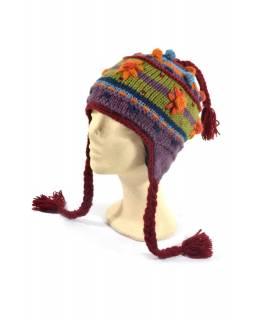 """Čepice s ušima, """"Rainbow Flower"""", ruční práce, vlna, podšívka"""