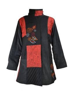 Černo červený manžestrový kabátek, potisk a výšivka, zapínání na zip a kapsy
