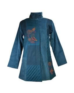 Modrý manžestrový kabátek, potisk a výšivka, zapínání na zip a kapsy