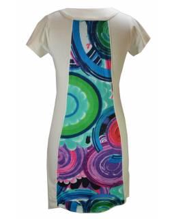 """Bílé šaty s krátkým rukávem """"Modelia"""", tisk ve středu, kapsy"""