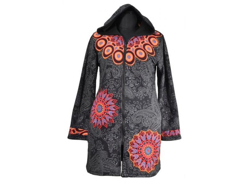 0c22bb3989 Černo-šedý dámský kabát s kapucí zapínaný na zip