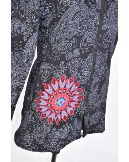 Černo-šedý dámský kabát s kapucí zapínaný na zip, Mandala aplikace, kapsy