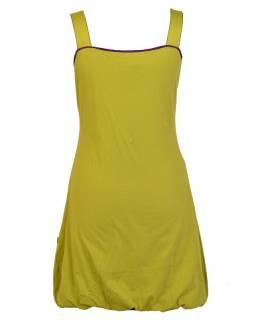 Krátké zelené šaty na ramínka s fialovými detaily, tisk a výšivka