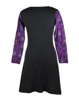 """Krátké černo-fialové šaty s dlouhým rukávem a """"Flower"""" designem, výšivka"""