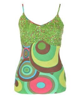 Zelené tílko s potiskem kruhů, žabičkování na zádech, nastavitelná ramínka