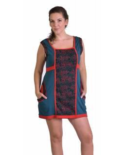 """Šaty, krátké, bez rukávu, potisk """"Bubble design"""", červeno-modré, kapsy"""