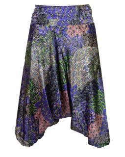 """Saténové turecké kalhoty """"Peacock design"""", fialové odstíny"""