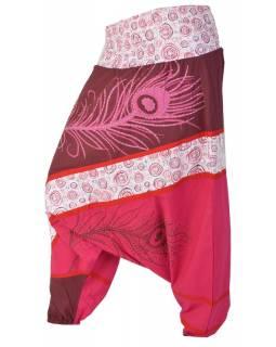 Turecké kalhoty, dlouhé, růžové, peacock design, tisk, výšivka, bobbin