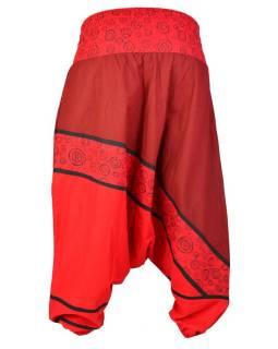 Turecké kalhoty, dlouhé, červené, peacock design, tisk, výšivka, bobbin
