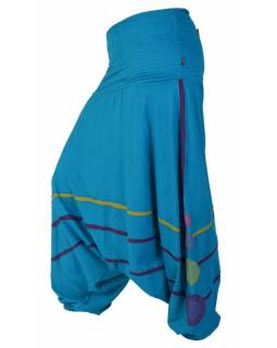 Tyrkysovo fialové turecké kalhoty s prostřihy a mandalami, žabičkování