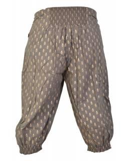 Khaki tříčtvrteční kalhoty se zlatým potiskem, kapsy a elastický pas
