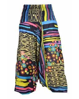 """Tmavě modré turecké kalhoty, """"Divine flowers design"""", žabičkování"""