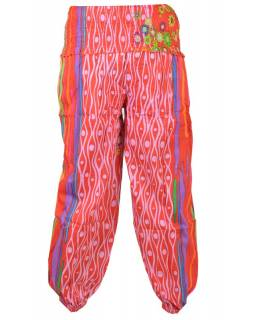 """Červené balonové kalhoty s potiskem """"Divine flowers design"""" a žabičkováním"""
