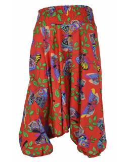 """Turecké kalhoty, dlouhé, """"Butterfly design"""", červené, žabičkování"""