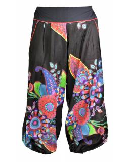 """Černé balonové kalhoty """"Flower design"""", pružný pas a kapsy"""