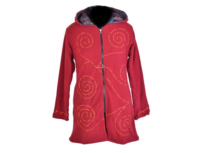 Vínový dámský kabátek s kapucí zapínaný na zip, spiral výšivka a mandala potisk