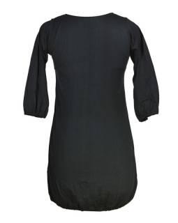 Šaty, krátké, tříčtvrteční rukáv, černo-šedé, červená výšivka, tisk