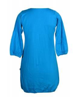 Šaty, krátké, tříčtvrteční rukáv, tyrkysovo-šedé, zelená výšivka, tisk
