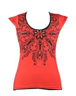 Červeno-černé tričko s krátkým rukávem a mandalou, barevná výšivka