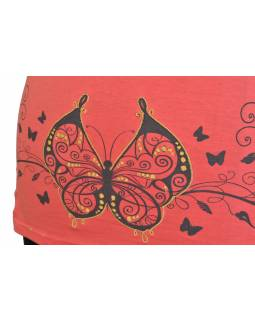 Meruňkové tričko s krátkým rukávem a potiskem motýlů, výšivka
