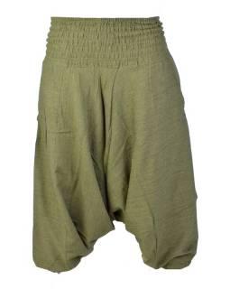 Khaki turecké kalhoty s žabičkováním v pase a kapsami