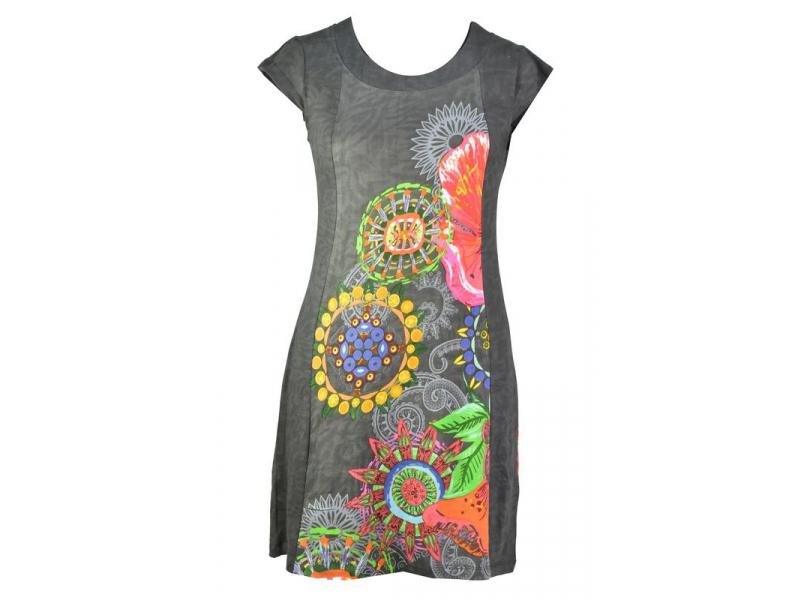 """Šedé šaty s krátkým rukávem """"Cindy"""", potisk barevných květin"""