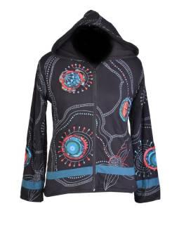 Černá dámská mikina s kapucí zapínaná na zip, modrý květinový potisk